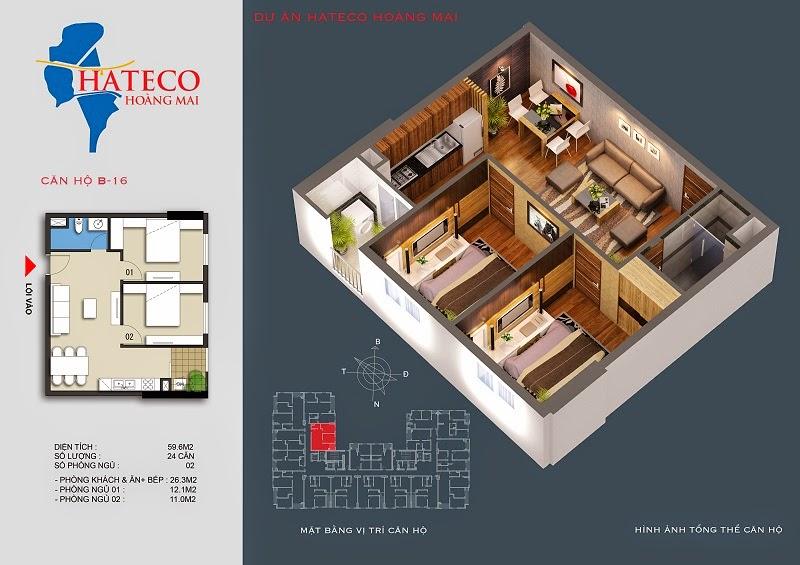 mặt bằng chung cư Hateco Hoàng Mai căn hộ B1416
