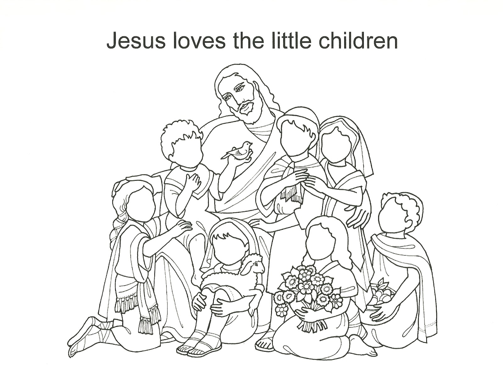Happy clean living primary 2 lesson 19 for Jesus blesses the children coloring page