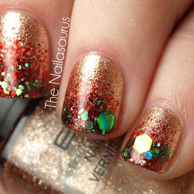 Christmas Nails With Glitter: 12 Days Of Christmas Nails: Day 11... Festive Glitter