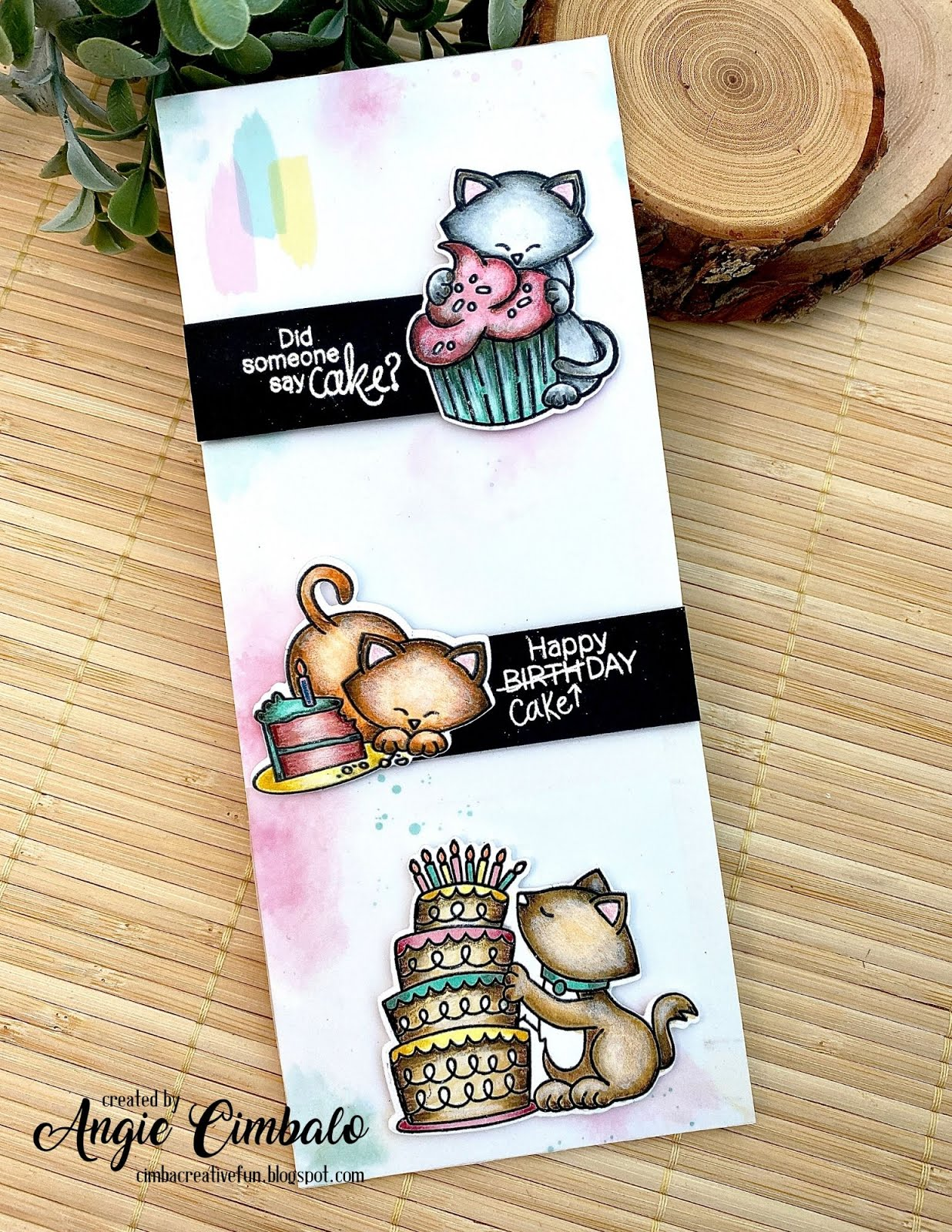 Newton Loves Cake Cards by August Guest Designer Angie Cimbalo | Newton Loves Cake Stamp Set by Newton's Nook Designs #newtonsnook #handmade