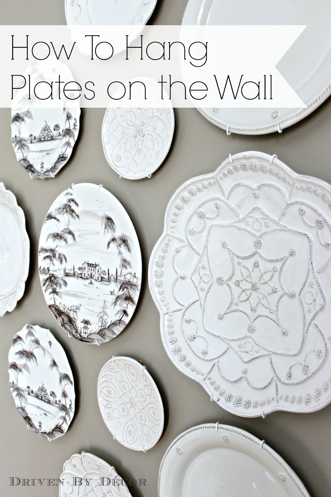 Of course, first you need to figure out how you want to arrange your plates  (for some great plate arrangement ideas, see {this post})  I laid mine out  on ...