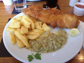 Fish-n-chips dinner at Dalton Arms English Pub.