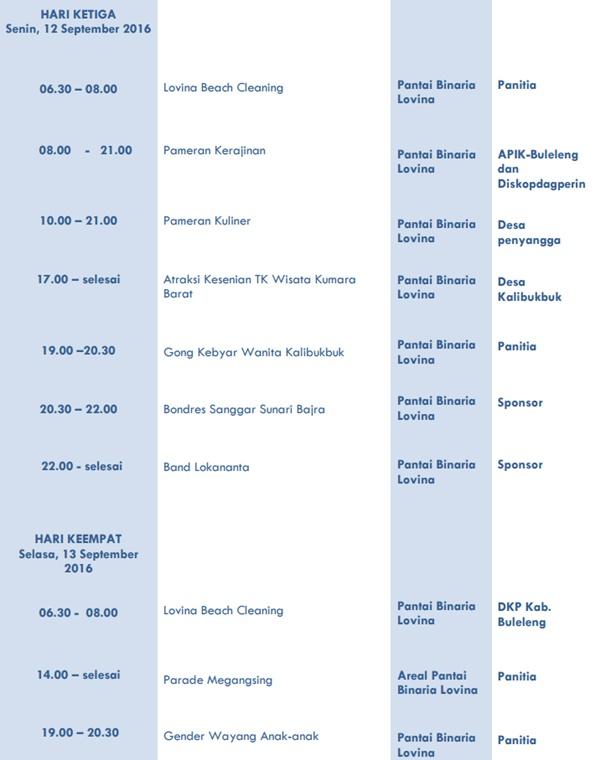 Jadwal lengkap ajang Lovina Festival 2016