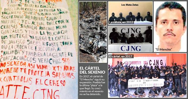 """2017, el año en el que CJNG tomó control del """"negocio"""" y le arrebató a Los Zetas el territorio poblano."""