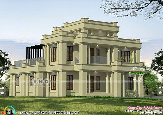 Traditional Colonial house rendering in sober color