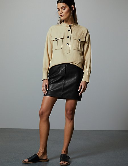 leather textured mini skirt
