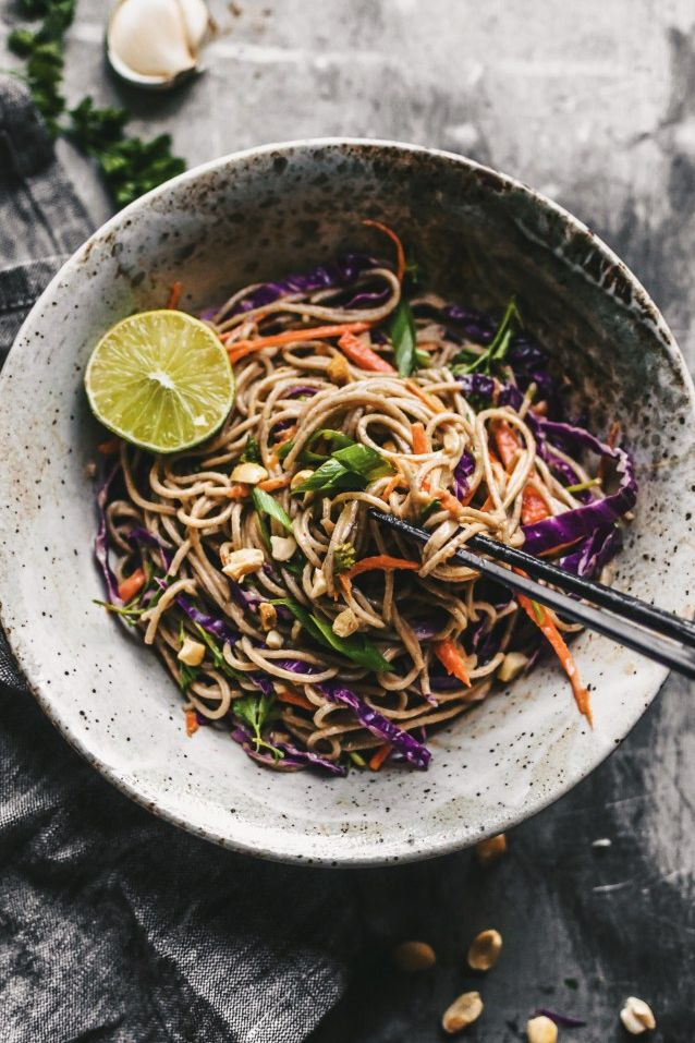 Soba Noodle Salad with Spicy Sesame Sauce. Need more recipes? Find 20 Quick Vegan Lunch Recipes Perfect for Easy Meal Prep. vegetarian lunches | vegan easy lunch | going vegan | healthy lunch vegan #veganlunch #vegan #veganlunchideas #health