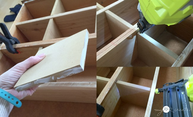 building a cubby organizer out of old drawers