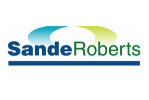 "Graphic of ""Sande Roberts"" in blue and green ink"