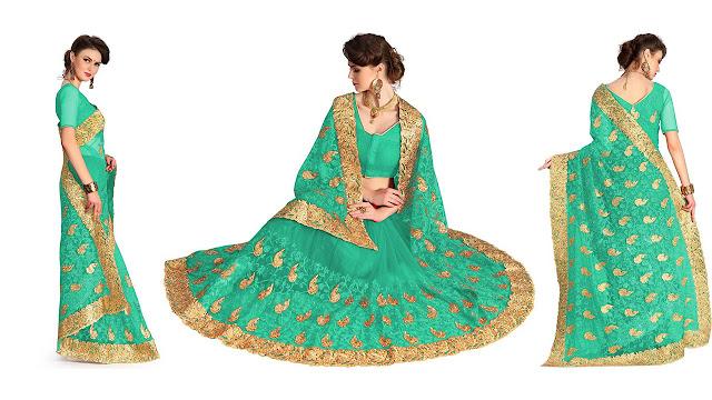 Pragati Fashion Hub Embroidered Bollywood Net Saree  (Green)