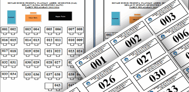 Format Denah Tempat Duduk dan Cetak Nomor Bangku Kelas UAS