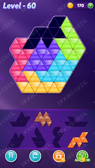 Block! Triangle Puzzle Intermediate Level 60 Solution, Cheats, Walkthrough for Android, iPhone, iPad and iPod