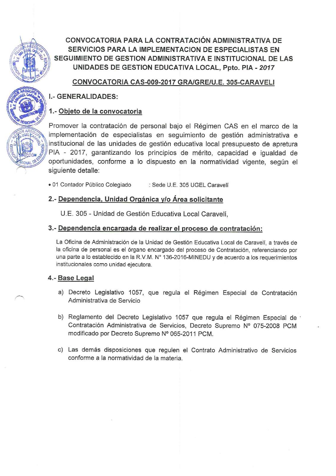 Convocatoria cas n 009 17 gra gre u e 305 caraveli for Convocatoria para plazas docentes 2017