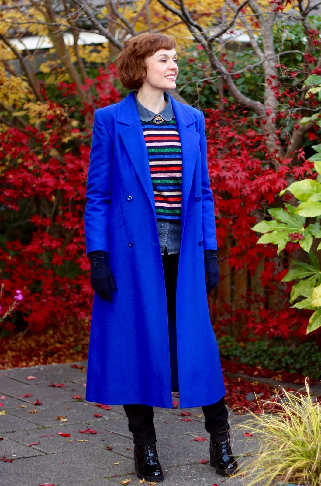 Cobalt Coat, Black M&Co Jeans, Patent Boots, sparkle stripe jumper, denim shirt. | Fake Fabulous