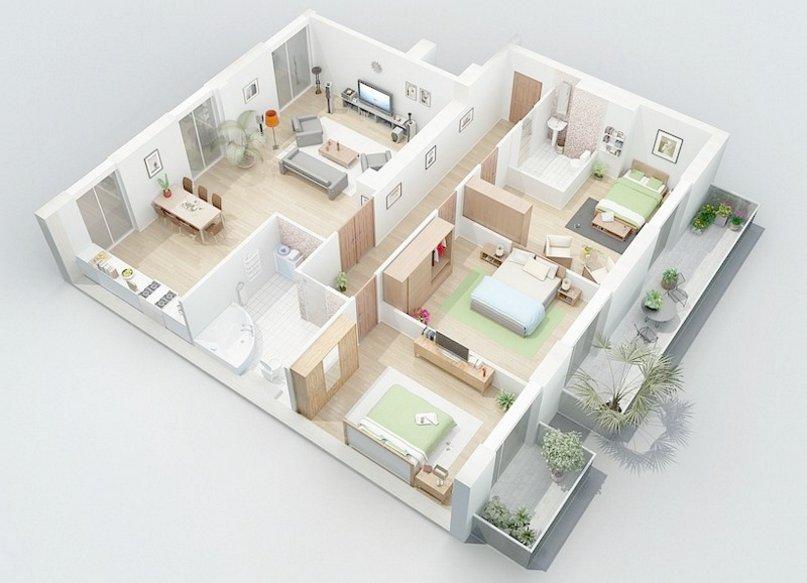 denah rumah 7x10 kamar 3 yang bagus