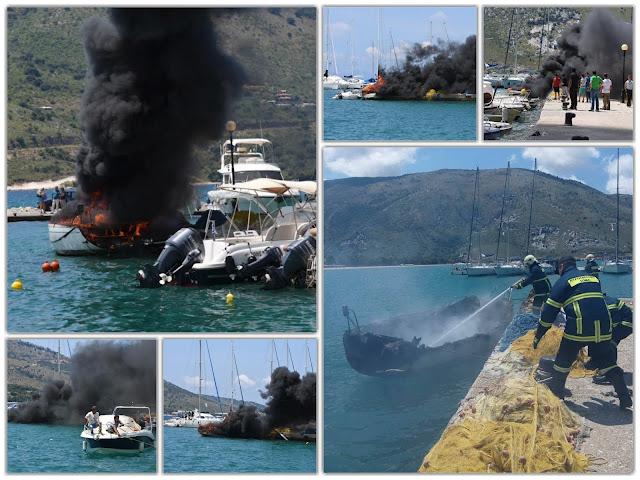 ΗΓΟΥΜΕΝΙΤΣΑ-Πυρκαγιά σε ιστιοπλοϊκό σκάφος στο λιμάνι της Πλαταριάς