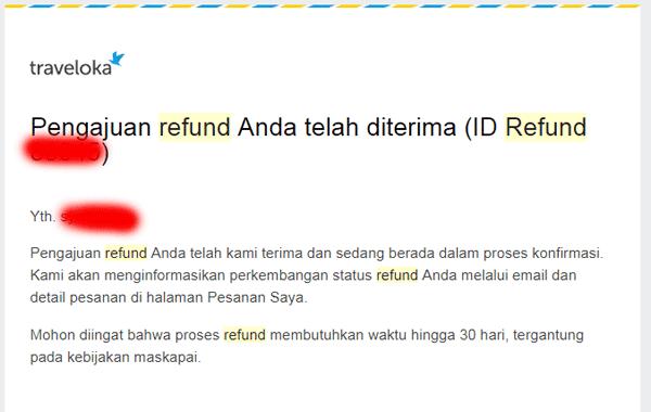 pemberitahuan refund telah diterima