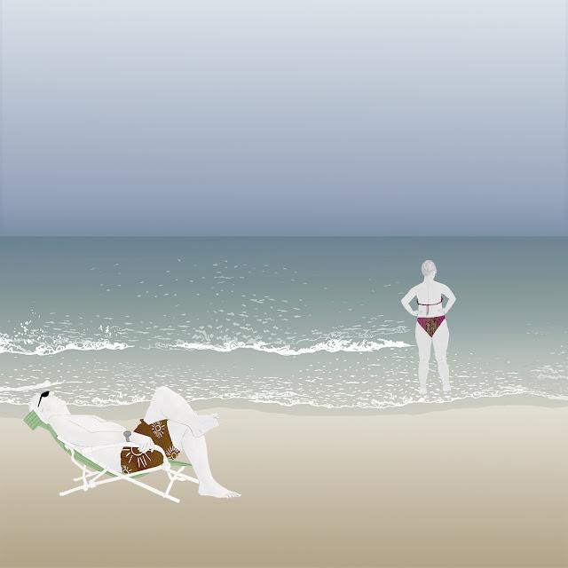 playa , vacaciones , dibujo , el mar es mentira