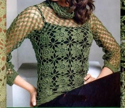 Tığ işi Çiçek ve Örümcek Desenli Bluz Modeli