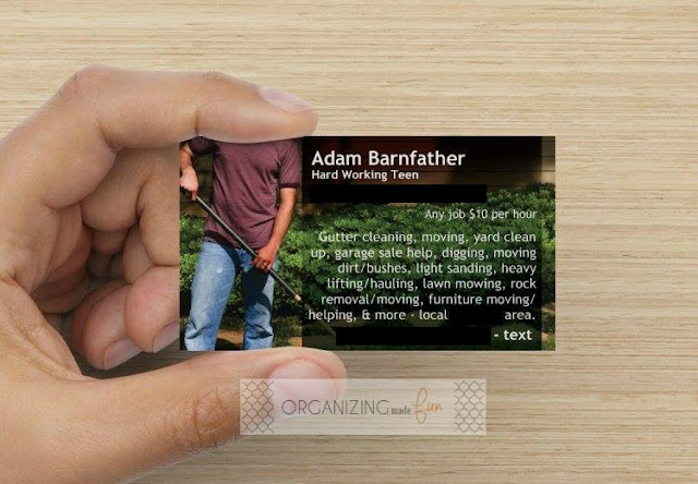 Business cards for teenage worker :: OrganizingMadeFun.com
