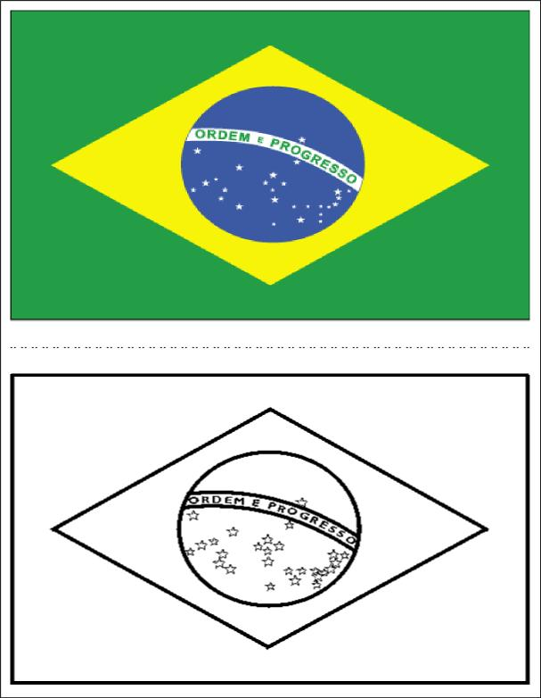 Baú da Web Bandeira do Brasil para Colorir