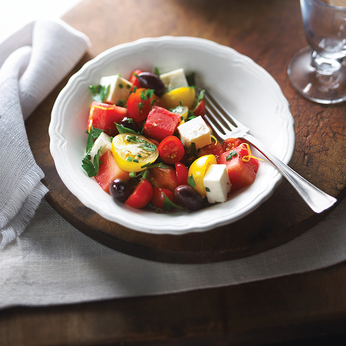 Cherry Tomato And Honeydew Melon Salad With Maple Syrup
