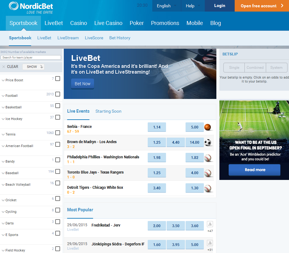Nordicbet Sportsbook Screenshot