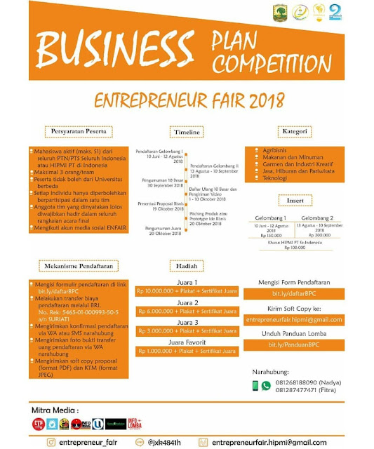 Contest Business Plan Competition Entreprener Fair 2018
