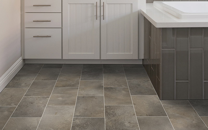 Natural grey tile has subtle shade variations that make this floor beautiful