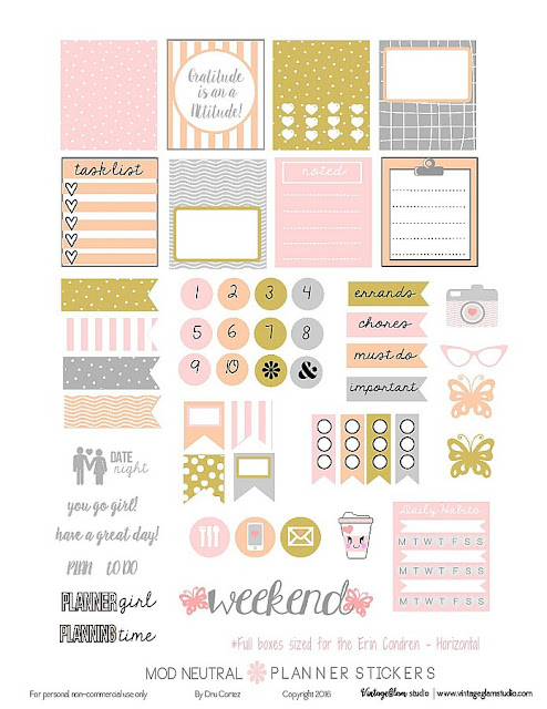 pink and gold free planner printable