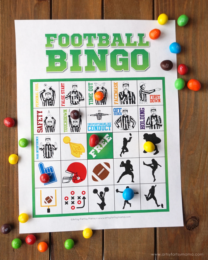 Play Free Printable Football Bingo and enjoy colorful treats with friends at your Game Day Homegating Party!