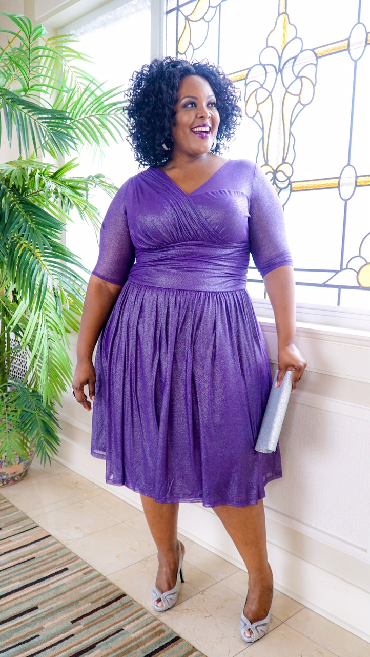 plus size formal wear, plus size purple dress, kiyonna purple dress