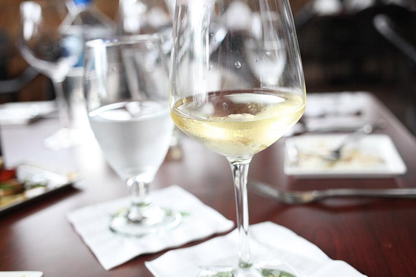 White wine at Eleven South Bistro & Bar