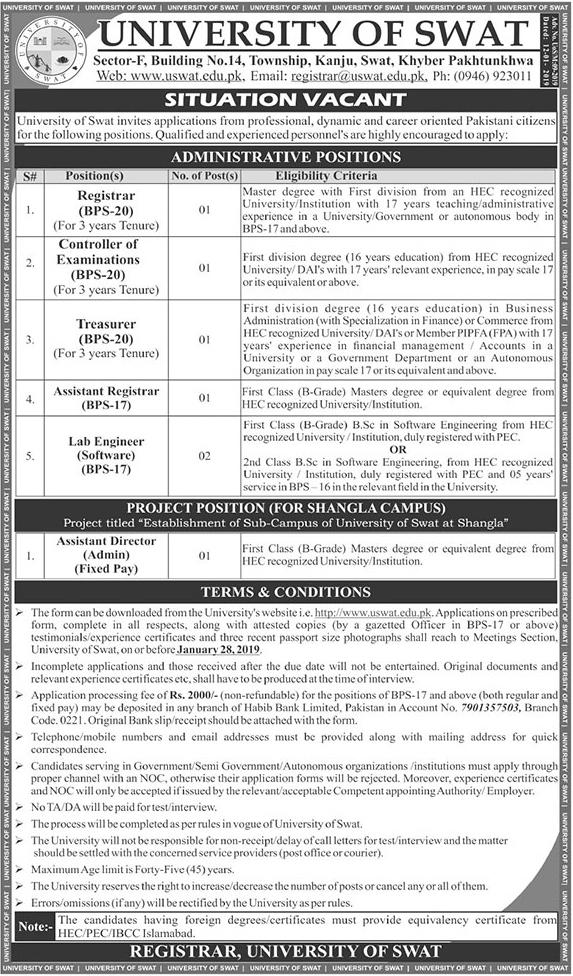 Advertisement for University of Swat Jobs January 2019