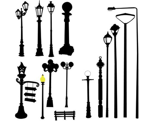 街灯のシルエット Stock vector lamppost street road light pole | ai ...
