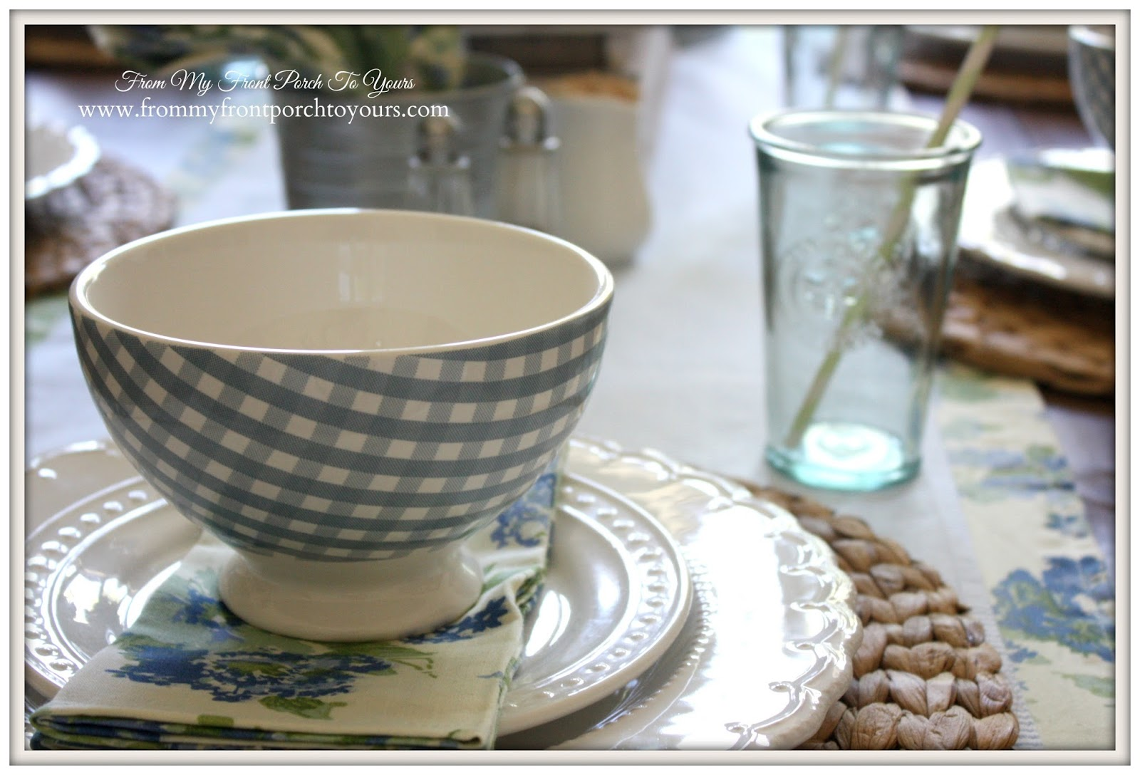 Farmhouse Spring Table Setting by From My Front Porch To Yours blog.