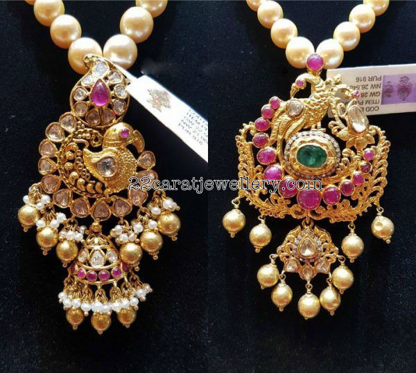 Peacock Pachi Pendant South Sea Pearls Set