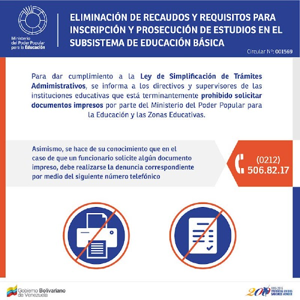 Denuncia a quien solicite documentos impresos tanto en el @MPPEDUCACION como en Zonas Educativas