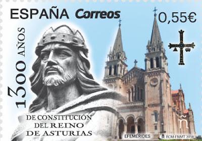 Sello del 1300 aniversario del Reino de Asturias, filatelia