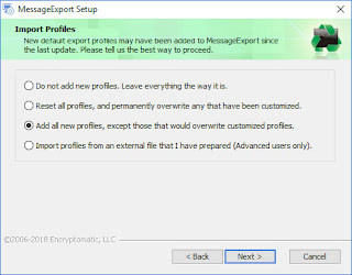 Screen image with options for importing new export profiles into MessageExport.