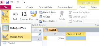 klik view design view pada lembar kerja ms access 2010