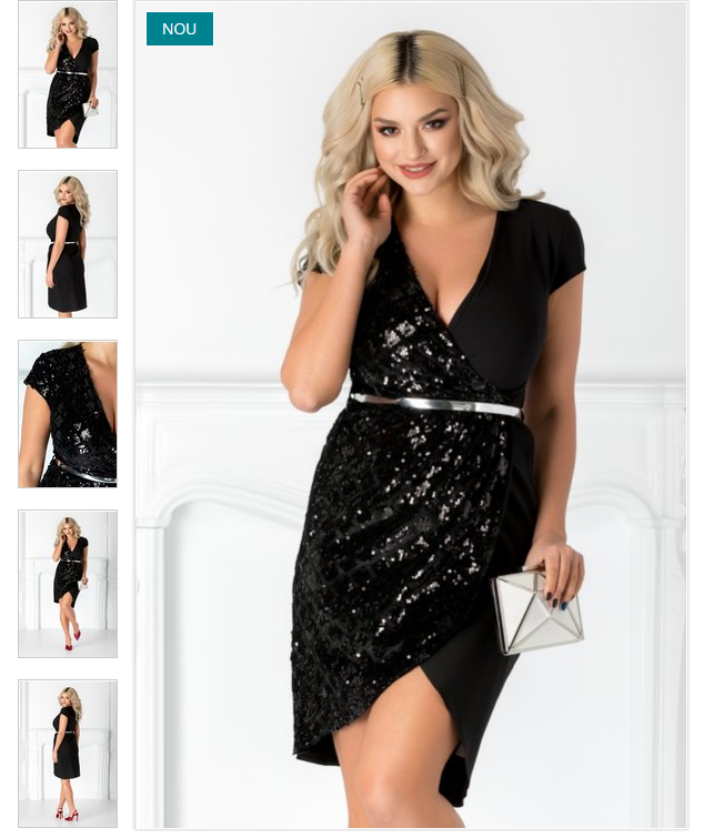 Rochie eleganta midi de ocazie neagra petrecuta cu catifea si paiete