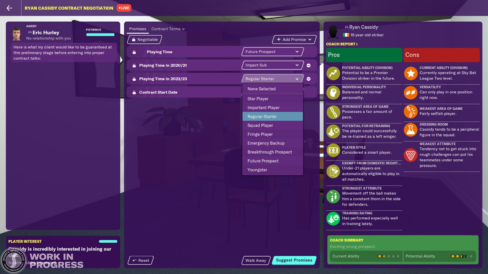 A contract offer screen in Football Manager 2020