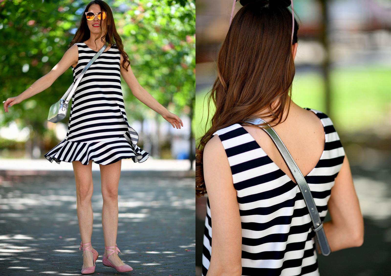 letné pásikavé šaty so štýlovými doplnkami // striped summer dress