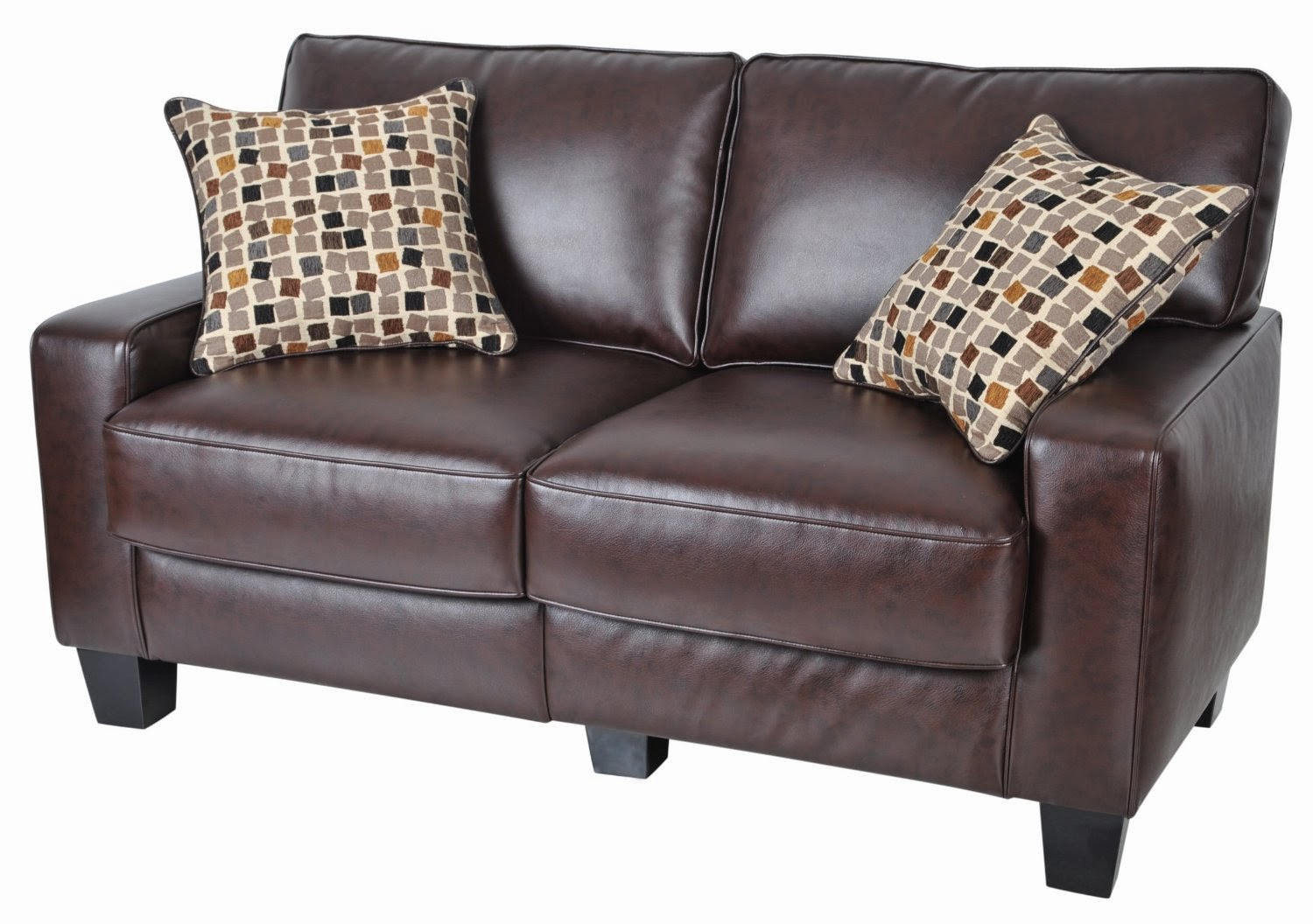 Serta Bonded Leather Convertible Sofa Tempurpedic Beds Brown Couch And Loveseat