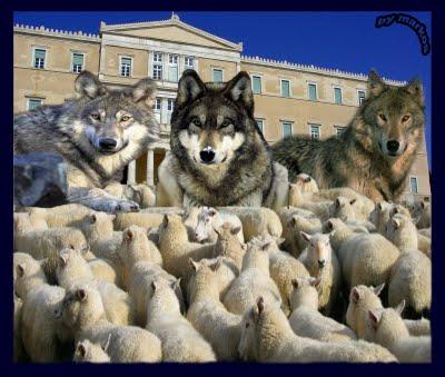 """Αποτέλεσμα εικόνας για Δημοκρατία είναι 4 λύκοι και 1 πρόβατο να ψηφίζουν για φαγητό"""" Αρκάς"""