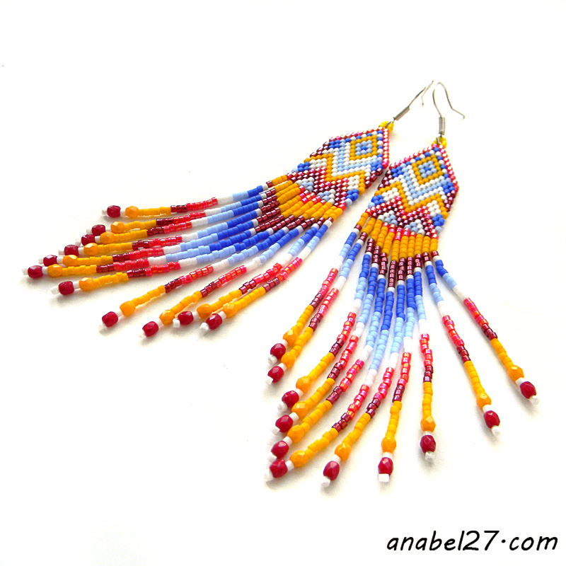 seed bead earrings beadwork jewelry beaded earrings long earrings