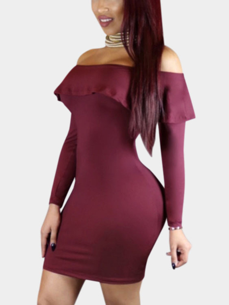 Burgundy Sexy Off Shoulder Flouncy Hem Bodycon Party Dress