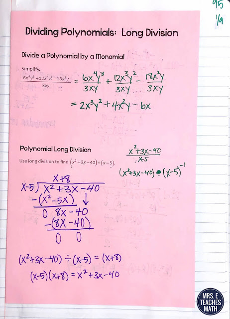 I used these interactive notebooks pages for teaching polynomial long division and synthetic division.  My algebra 2 students liked these dividing polynomials notes.