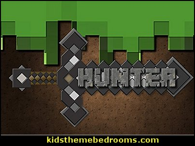 Boys Blocks Sword Personalized 13x19 POSTER   minecraft bedroom ideas - minecraft bedroom decor